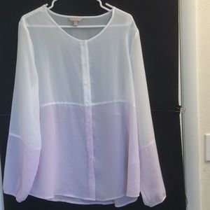 Banana Republic Sheer Peasant Button Front Flowy